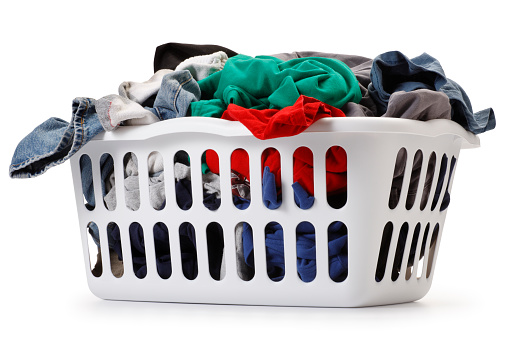 Washing「Basket of laundry on white background」:スマホ壁紙(16)