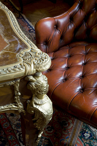 Antique Table and Chesterfield Leather Armchair with Oriental Rug:スマホ壁紙(壁紙.com)