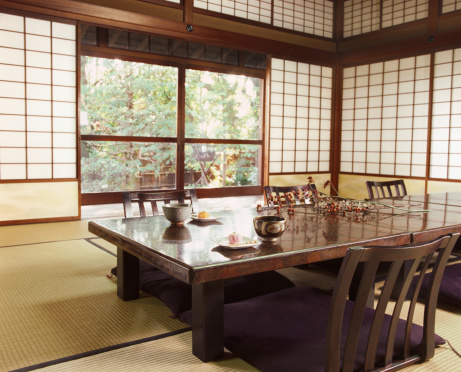 Dining Table「Japanese Room Wit Table, Chairs, Tatami Mat and Shohoji Doors」:スマホ壁紙(11)