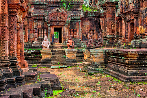 Cambodian Culture「Cambodia, Siem Reap Province, View of Banteay Srei 10th century ruins of a Hindu temple in Angkor Wat」:スマホ壁紙(11)