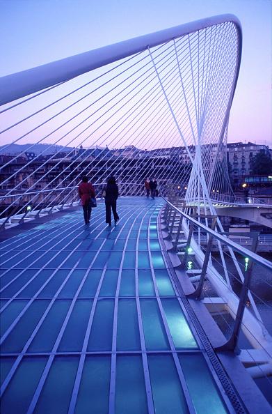 Bridge - Built Structure「Zubizuri footbridge over the Nervion river, Bilbao, Spain. Access to Guggehheim Museum. Bridge designed by Santiago Calatrava.」:写真・画像(6)[壁紙.com]