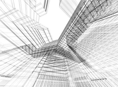 モノクロ「抽象的な 3 D のアーキテクチャ」:スマホ壁紙(14)