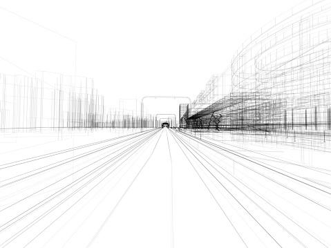 モノクロ「抽象的な 3 D のアーキテクチャ」:スマホ壁紙(6)