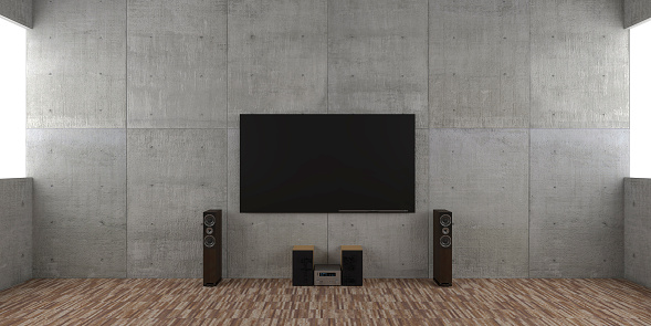 Clean「Architectural interior concept with TV set and hi-fi」:スマホ壁紙(5)