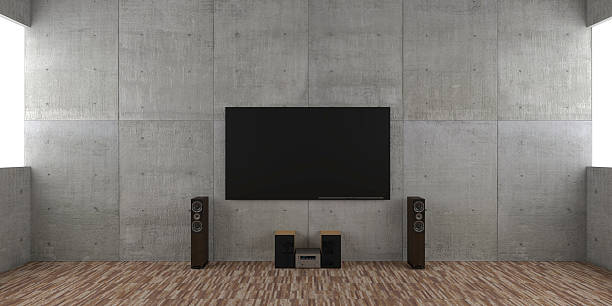 Architectural interior concept with TV set and hi-fi:スマホ壁紙(壁紙.com)
