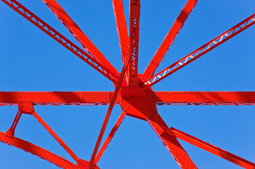 Minato Ward「Architectural Detail of Colorful Steel Lattice Design at Tokyo Tower in Central Tokyo, Japan」:スマホ壁紙(9)