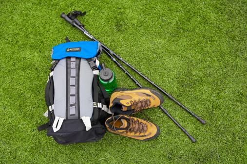 Hiking「Backpack, hiking boots, water bottle and hiking pole on turf」:スマホ壁紙(4)