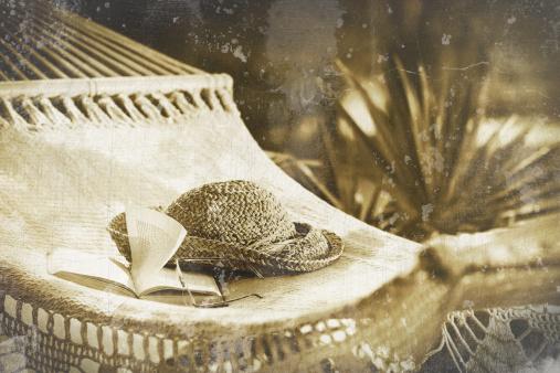 Hammock「Hammock, book, hat, and glasses on a sunny day」:スマホ壁紙(19)