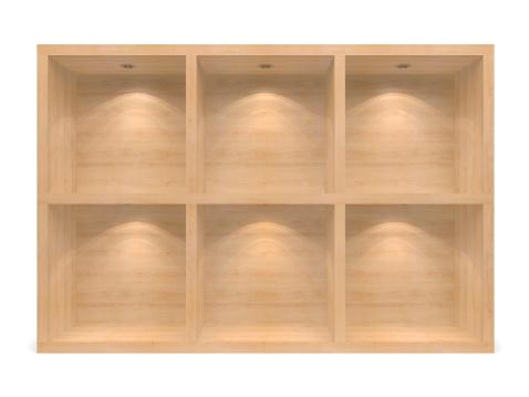 棚「木製の 3 D の空の棚」:スマホ壁紙(18)