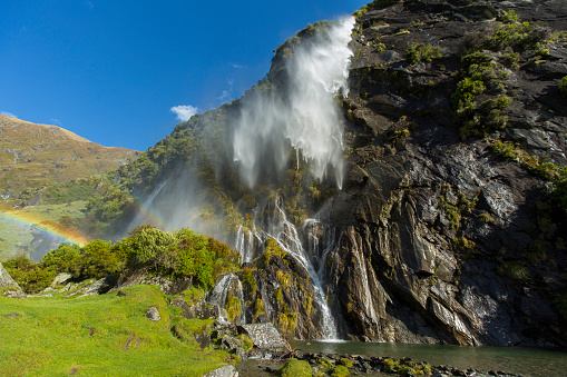New Zealand「Waterfall pouring over remote cliff」:スマホ壁紙(13)