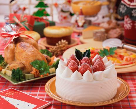 Christmas cake「Plenty dishes arranged for Christmas dinner」:スマホ壁紙(10)