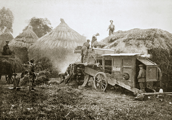 Combine Harvester「Threshing For Straw For Soldiers' Use France World War I 1916」:写真・画像(6)[壁紙.com]