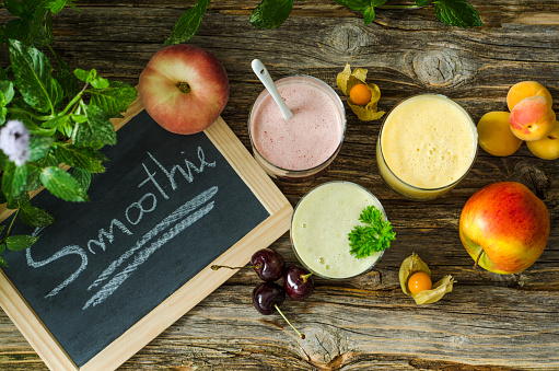 Chinese Lantern「Cherry smoothie, apricot peach smoothie, parsley mint smoothie and fruits」:スマホ壁紙(19)