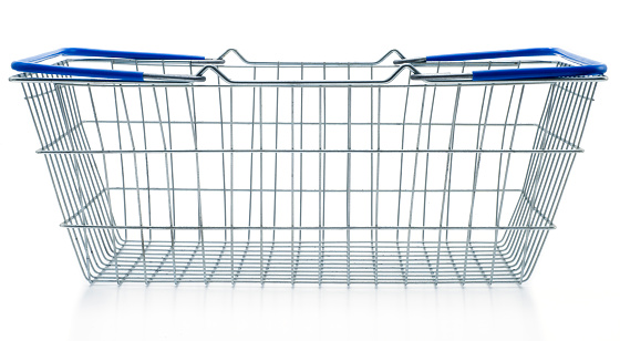 Retail「Empty shopping basket metal with blue handles」:スマホ壁紙(0)