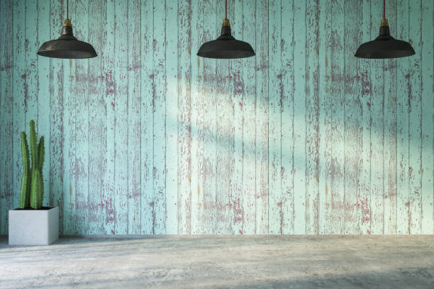 Empty Wooden Wall with Lights and Plant:スマホ壁紙(壁紙.com)