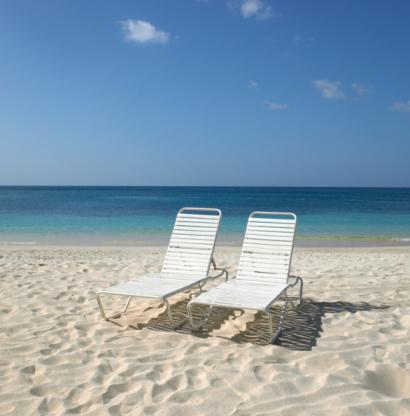 Outdoor Chair「Two empty sunloungers on beach」:スマホ壁紙(16)
