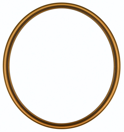 Metallic「Antique Gold Round Picture Frame. Isolated with Clipping Path」:スマホ壁紙(4)