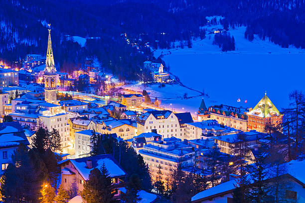 Switzerland, View of St Moritz townscape:スマホ壁紙(壁紙.com)