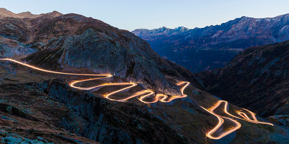 European Alps「Switzerland, Valais, Alps, Gotthard pass in the evening」:スマホ壁紙(6)