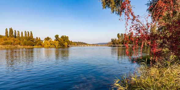 Thurgau「Switzerland, Thurgau, Lake Constance, Rhine river, View to Island Werd, footbridge」:スマホ壁紙(2)