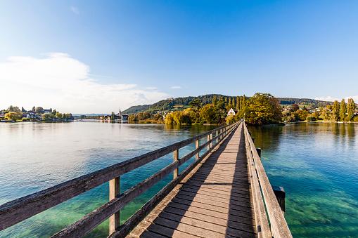 Thurgau「Switzerland, Thurgau, Lake Constance, Rhine river, View to Island Werd, footbridge」:スマホ壁紙(7)