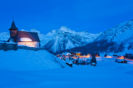 Ski Resort「Switzerland, View of Bergkirchli church」:スマホ壁紙(1)