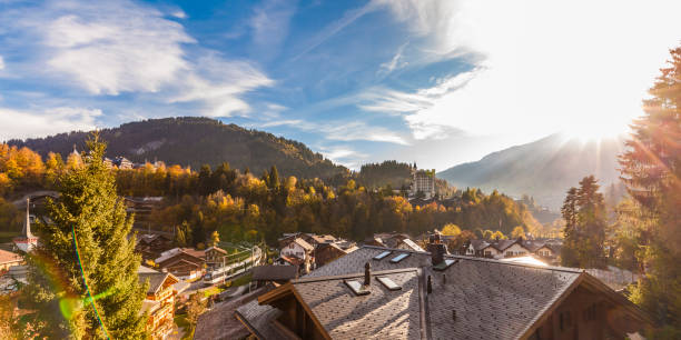 Switzerland, Canton of Bern, Gstaad, townscape with Gstaad Palace Hotel:スマホ壁紙(壁紙.com)
