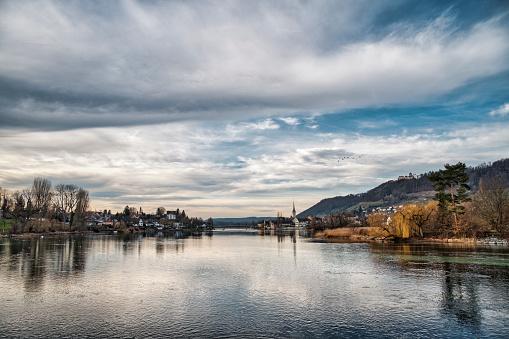 Thurgau「Switzerland, Canton of Thurgau, Stein am Rhein, View of river Rhine and old town」:スマホ壁紙(8)