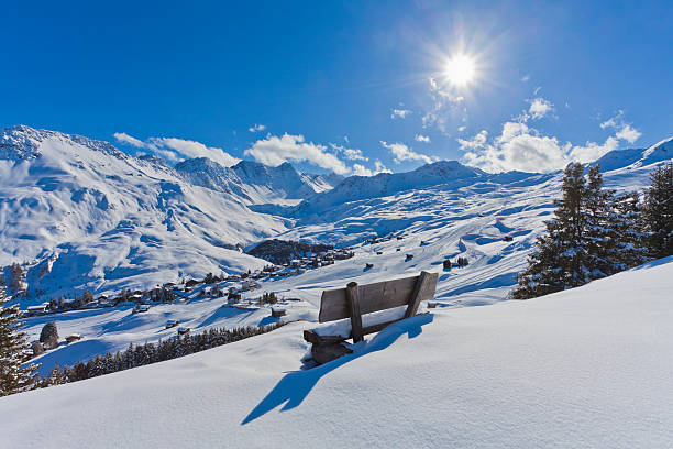 Switzerland, View of mountains covered with snow at Arosa:スマホ壁紙(壁紙.com)