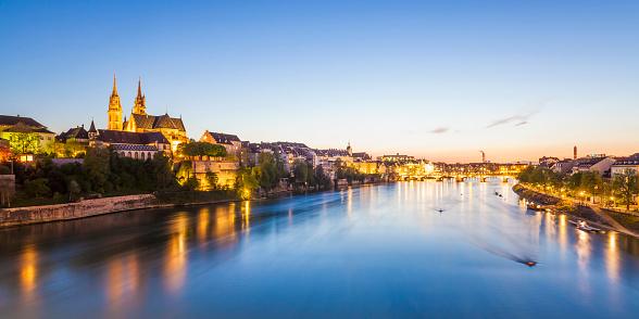 スイス「Switzerland, Basel, city view and Rhine at dusk」:スマホ壁紙(6)