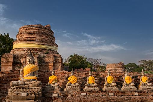 Buddha statue「Wat Yai Chai Mongkhon temple, Ayutthaya, Thailand」:スマホ壁紙(9)