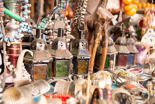 Gift Shop「Candle chandeliers on souvenir shop, Taghazout, Agadir, Morocco」:スマホ壁紙(2)