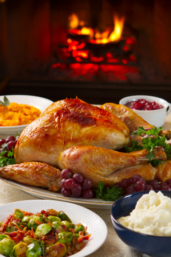 Roast Turkey「Cooked turkey on a dish with grapes in front of open fire」:スマホ壁紙(18)