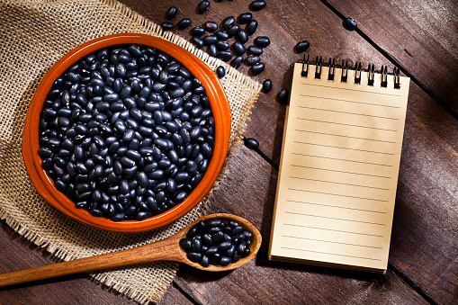 Dietary Fiber「Black beans in a bowl and blank cookbook」:スマホ壁紙(13)