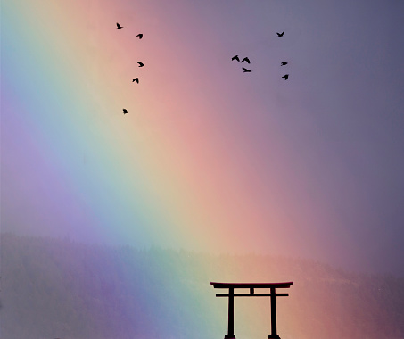 Rainbow「Japanese tori gate:composite image. rainbow and birds.」:スマホ壁紙(2)