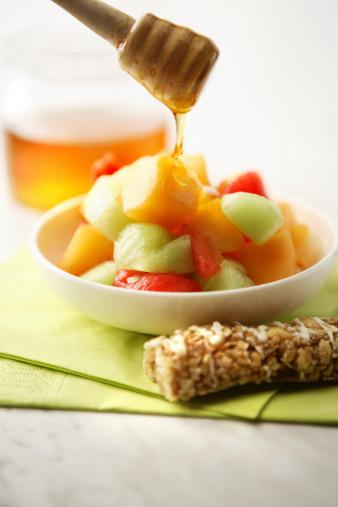 メロン「フルーツスティルス: サラダ、シリアルバーとハチミツ」:スマホ壁紙(2)
