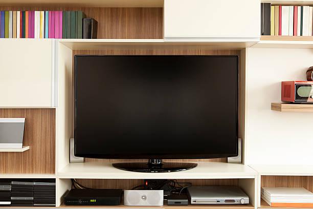 TV set on wall unit:スマホ壁紙(壁紙.com)