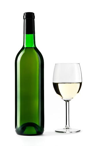 Wine Bottle「White wine bottle with wine glass, isolated on white」:スマホ壁紙(8)