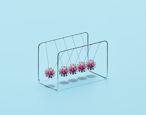 Blue Background「Newton's cradle with viruses」:スマホ壁紙(7)