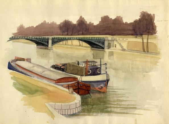 Water's Edge「Barges On The River Thames Near Battersea Bridge」:写真・画像(9)[壁紙.com]