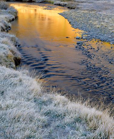インヨー国有林「Frost covering grasses along banks of Lee Vining Creek at sunrise, Inyo National Forest, Sierra Nevada Mountains, California, USA」:スマホ壁紙(14)
