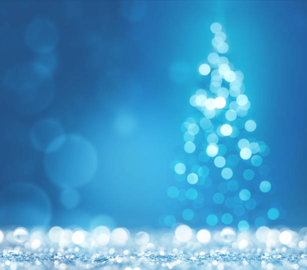 Blue light and christmas tree on white defocused sparkles:スマホ壁紙(壁紙.com)