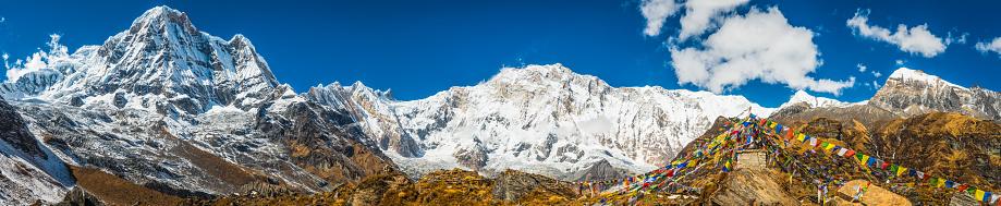 Himalayas「Annapurna 8091m base camp prayer flags Himalaya mountains panorama Nepal」:スマホ壁紙(14)