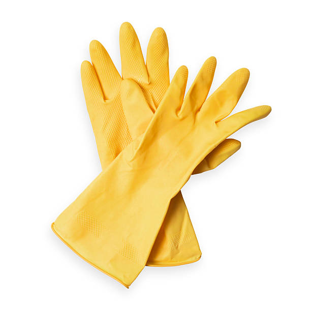 Pair of yellow rubber washing up/ cleaners gloves:スマホ壁紙(壁紙.com)