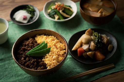 Meal「Chicken soboro and scrambled eggs and tepary bean with Bowl of rice dishes.」:スマホ壁紙(7)