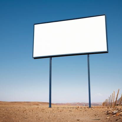 Remote Location「Namibia, blank billboard  in desert landscape, low angle view」:スマホ壁紙(7)