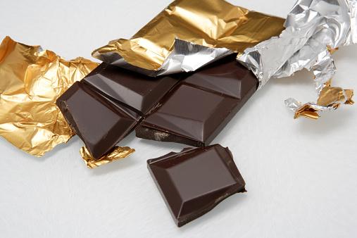 チョコレート「Broken dark chocolate bar in foil, close-up」:スマホ壁紙(8)
