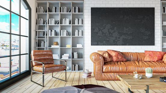 Art「Cozy Room with Library with Leather Sofa Empty Black Frame」:スマホ壁紙(7)