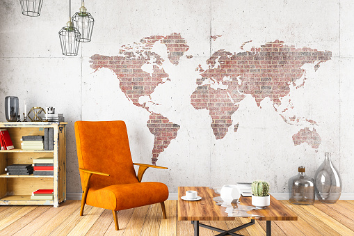 Wall - Building Feature「Cozy Room with World Map」:スマホ壁紙(11)