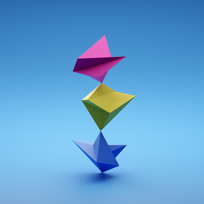 Blue Background「Balancing polygonal shapes」:スマホ壁紙(8)